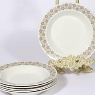 Arabia Rypäle lautaset, syvä, 6 kpl, suunnittelija Raija Uosikkinen, syvä, serikuva