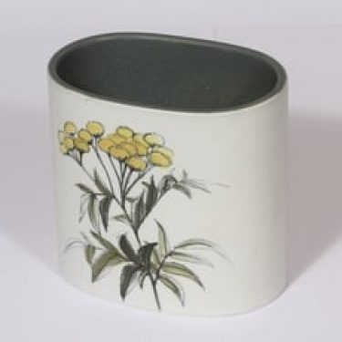 Arabia Kukka maljakko, käsinmaalattu, suunnittelija Hilkka-Liisa Ahola, käsinmaalattu, signeerattu, kukka-aihe, mattalasite