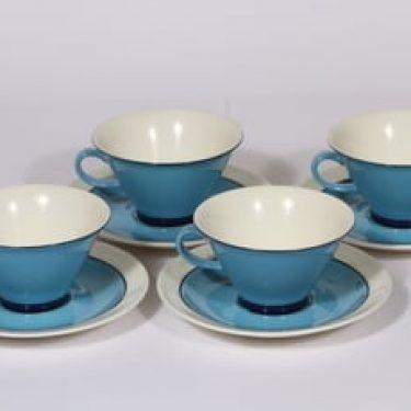 Arabia Harlekin Turkos teekupit, turkoosi, 4 kpl, suunnittelija Inkeri Leivo,