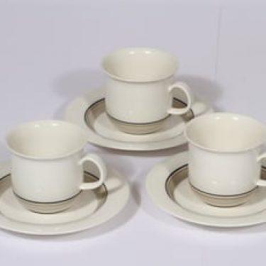 Arabia Seita Arctica kahvikupit, valkoinen, 3 kpl, suunnittelija Inkeri Leivo, raitakoriste