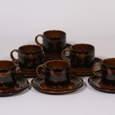 Arabia Soraya coffee cup, hand-painted, 6 pcs, retro