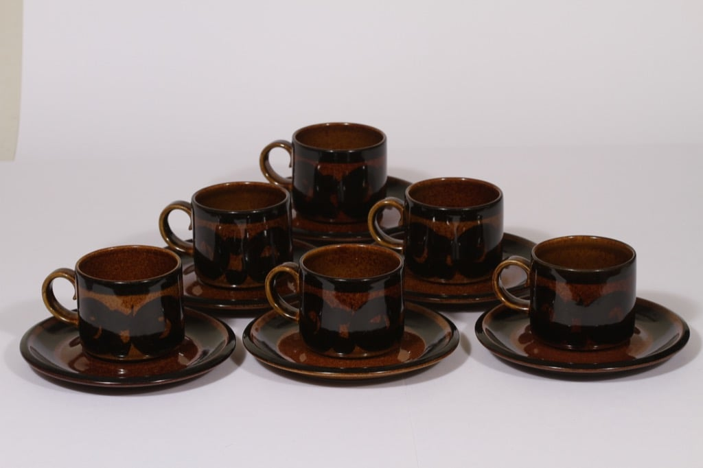 Arabia Soraya coffee cup, hand-painted, 6 pcs, retro