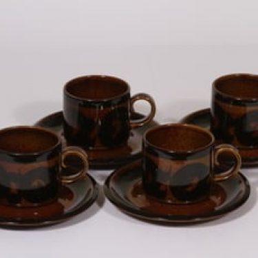 Arabia Soraya kahvikupit, käsinmaalattu, 4 kpl, suunnittelija Gunvor Olin-Grönqvist, käsinmaalattu, retro