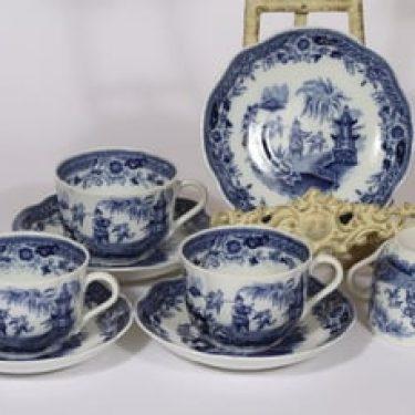 Arabia Singapore teekupit, sininen, 4 kpl, suunnittelija , kuparipainokoriste