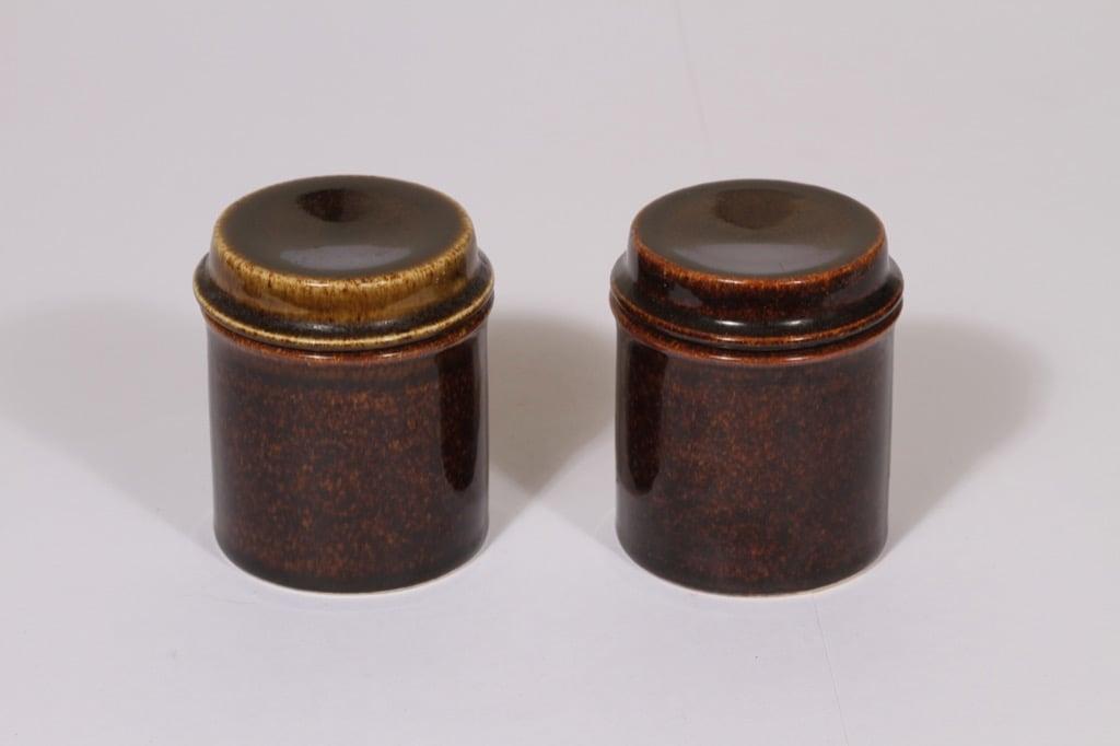 Arabia Mahonki purkit, ruskea lasite, 2 kpl, suunnittelija Ulla Procope,