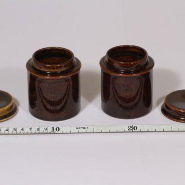 Arabia Mahonki purkit, ruskea lasite, 2 kpl, suunnittelija Ulla Procope,  kuva 2