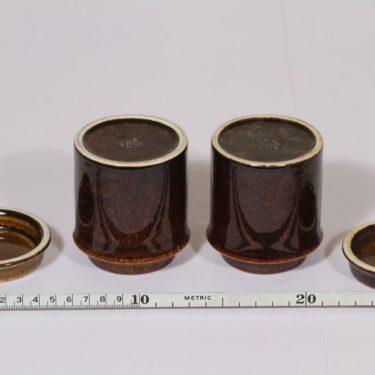 Arabia Mahonki purkit, ruskea lasite, 2 kpl, suunnittelija Ulla Procope,  kuva 3