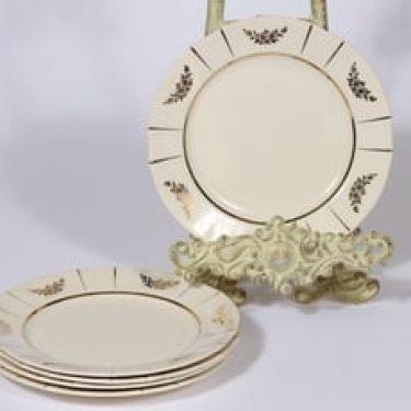 Arabia Irja leivoslautaset, kulta, 5 kpl, suunnittelija , pieni, painokoriste