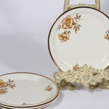 Arabia Myrna leivoslautaset, 5 kpl, suunnittelija Olga Osol, serikuva, kukka-aihe