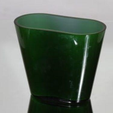 Nuutajärvi Ever green maljakko, vihreä, suunnittelija Heikki Orvola, massiivinen, opaaliverho