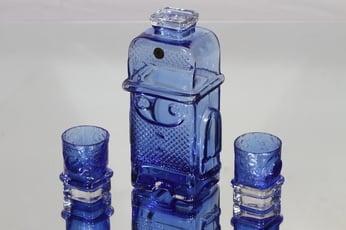 Riihimäen lasi Pikku-Matti karahvi ja lasit, 5 cl, 2 kpl, suunnittelija Helena Tynell, 5 cl