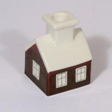 Arabia kynttilänjalka, Talo, suunnittelija Heljä Liukko-Sundström, Talo, pieni, käsinmaalattu