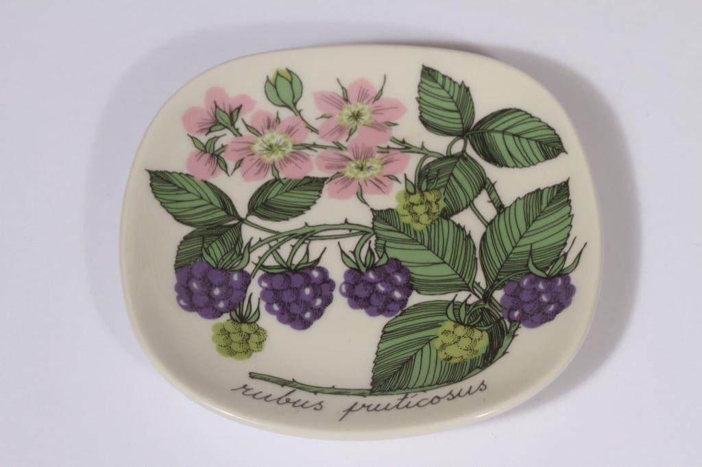 Arabia Botanica koristelautanen, Karhunvatukka, suunnittelija Esteri Tomula, Karhunvatukka, pieni, serikuva