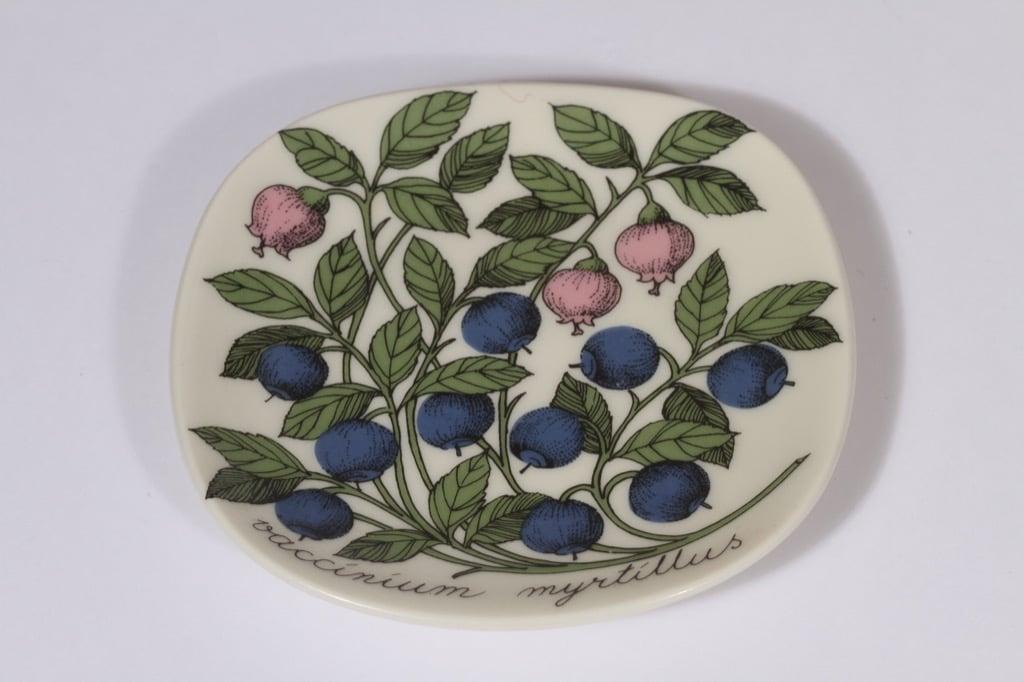 Arabia Botanica decorative plate, Mustikka, designer Esteri Tomula, small, silk screening