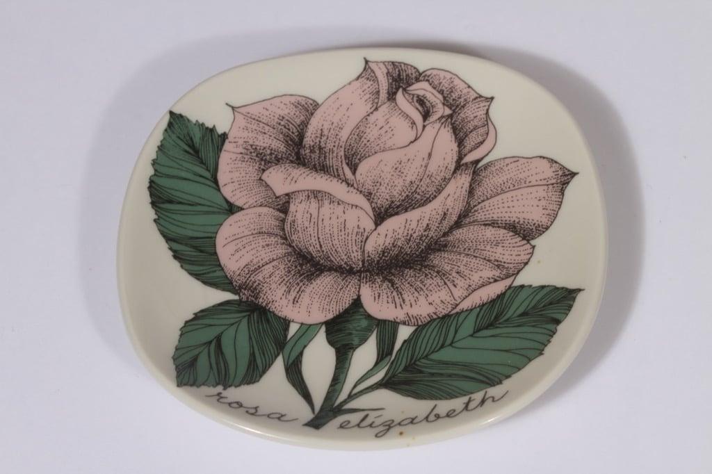 Arabia Rosa koristelautanen, Rosa Elisabeth, suunnittelija Esteri Tomula, Rosa Elisabeth, pieni, serikuva