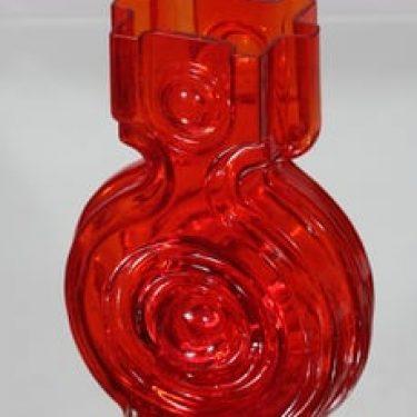 Riihimäen lasi Aitanlukko maljakko, punainen, suunnittelija Helena Tynell,