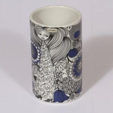 Arabia Pastoraali maljakko, sininen, suunnittelija Esteri Tomula, serikuva, satuaihe