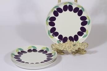 Arabia Pomona lautaset, luumu, 4 kpl, suunnittelija Raija Uosikkinen, luumu, pieni, serikuva, matala