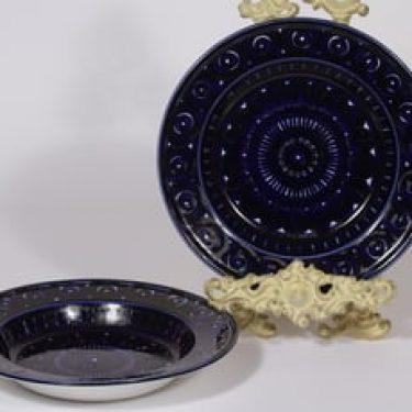Arabia Valencia lautaset, syvä, 2 kpl, suunnittelija Ulla Procope, syvä, käsinmaalattu, signeerattu
