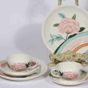 Arabia China tea teekupit, 2 kpl, suunnittelija Dorrit von Fieandt, serikuva, kukka-aihe