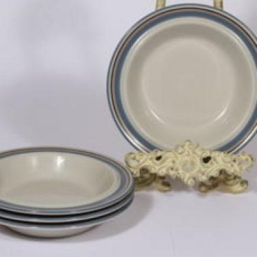 Arabia Uhtua lautaset, syvä, 4 kpl, suunnittelija Inkeri Leivo, syvä, raitakoriste