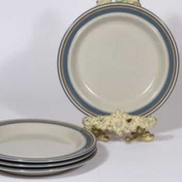 Arabia Uhtua lautaset, matala, 4 kpl, suunnittelija Inkeri Leivo, matala, raitakoriste