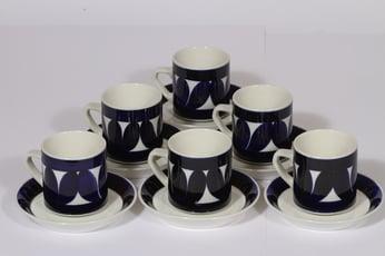 Arabia Sotka kahvikupit, käsinmaalattu, 6 kpl, suunnittelija Raija Uosikkinen, käsinmaalattu, retro