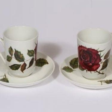 Arabia Ruusu kahvikupit, 2 kpl, suunnittelija Anneli Qveflander, serikuva