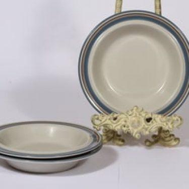 Arabia Uhtua lautaset, syvä, 3 kpl, suunnittelija Inkeri Leivo, syvä, raitakoriste