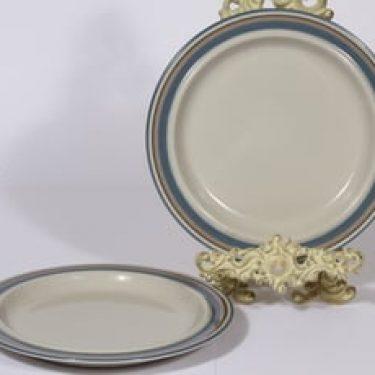 Arabia Uhtua lautaset, matala, 2 kpl, suunnittelija Inkeri Leivo, matala, raitakoriste