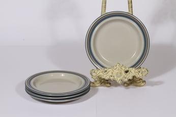 Arabia Uhtua lautaset, pieni, 4 kpl, suunnittelija Inkeri Leivo, pieni, raitakoriste