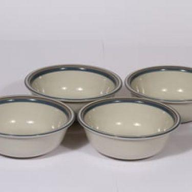 Arabia Uhtua lautaset, syvä, 4 kpl, suunnittelija Inkeri Leivo, syvä, pieni, raitakoriste