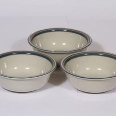 Arabia Uhtua lautaset, syvä, 3 kpl, suunnittelija Inkeri Leivo, syvä, pieni, raitakoriste