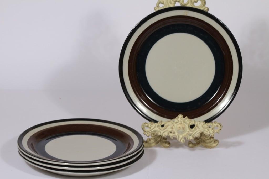 Arabia Kaira lautaset, 4 kpl, suunnittelija Anja Jaatinen-Winquist, matala, raitakoriste