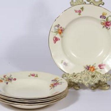 Arabia Kesäkukka lautaset, 6 kpl, suunnittelija , syvä, siirtokuva, kukka-aihe