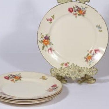 Arabia Kesäkukka lautaset, 5 kpl, suunnittelija , matala, siirtokuva, kukka-aihe