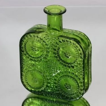 Riihimäen lasi Grapponia koristepullo, vihreä, suunnittelija Nanny Still,