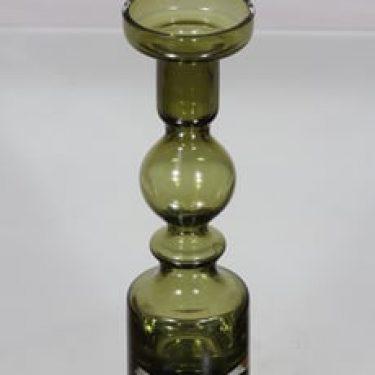 Riihimäen lasi Pompadour kynttilänjalka, oliivinvihreä, suunnittelija Nanny Still,