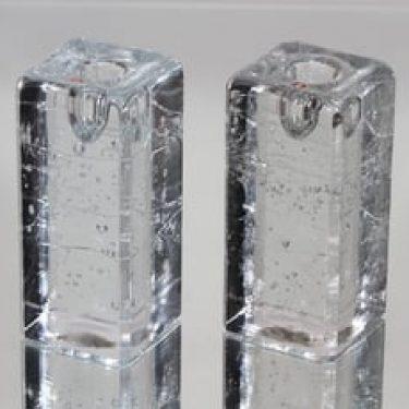Iittala Arkipelago kynttilänjalat, kirkas, 2 kpl, suunnittelija Timo Sarpaneva, massiivinen