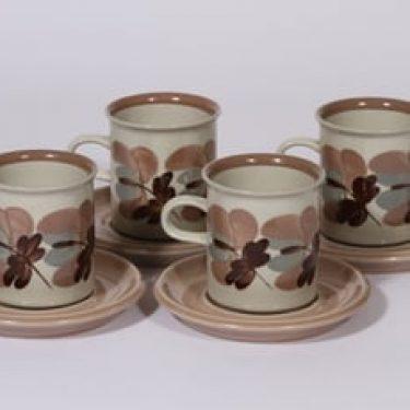 Arabia Koralli kahvikupit, 16 cl, 4 kpl, suunnittelija Raija Uosikkinen, 16 cl, käsinmaalattu