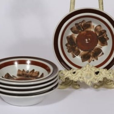 Arabia Rosmarin lautaset, syvä, 5 kpl, suunnittelija Ulla Procope, syvä, käsinmaalattu, signeerattu