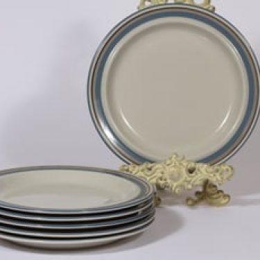 Arabia Uhtua lautaset, matala, 6 kpl, suunnittelija Inkeri Leivo, matala, raitakoriste