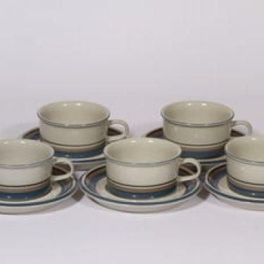 Arabia Uhtua teekupit, 5 kpl, suunnittelija Inkeri Leivo, raitakoriste