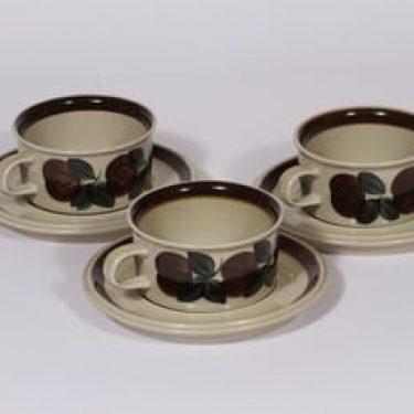Arabia Ruija teekupit, käsinmaalattu, 3 kpl, suunnittelija Raija Uosikkinen, käsinmaalattu