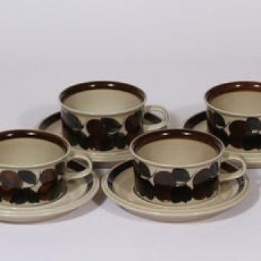 Arabia Ruija teekupit, käsinmaalattu, 4 kpl, suunnittelija Raija Uosikkinen, käsinmaalattu