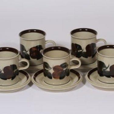 Arabia Ruija kahvikupit, käsinmaalattu, 5 kpl, suunnittelija Raija Uosikkinen, käsinmaalattu
