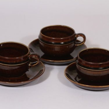 Arabia Mahonki tea cup, brown, 3 pcs, Ulla Procope