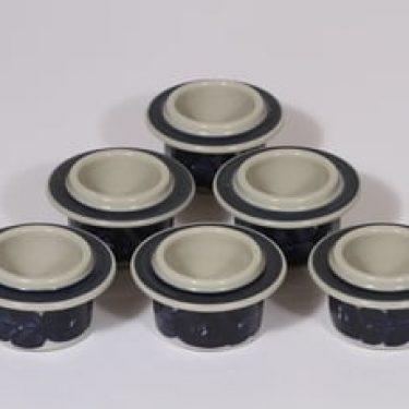 Arabia Anemone munakupit, käsinmaalattu, 6 kpl, suunnittelija Ulla Procope, käsinmaalattu, signeerattu