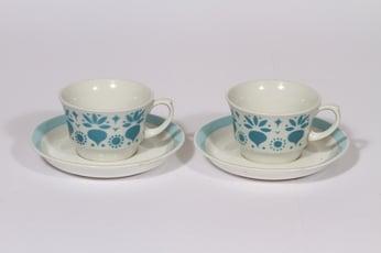 Arabia Retikka kahvikupit, sininen, 2 kpl, suunnittelija Hilkka-Liisa Ahola, puhalluskoriste