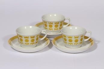 Arabia Salla kahvikupit, keltainen, 3 kpl, suunnittelija , puhalluskoriste